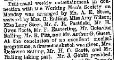 newspaper cutting about entertainment featuring Rallin