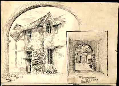 sketch of courtyard in cathedral close exeter
