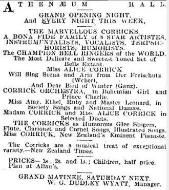 Corrick programme of items in newspaper