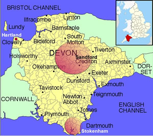 Map of Devon with family origins