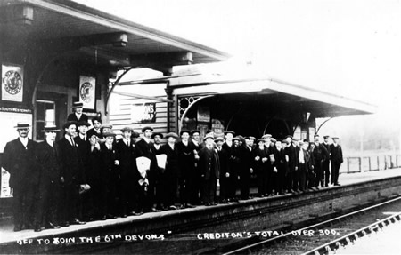 Devonshire recruits on railway station