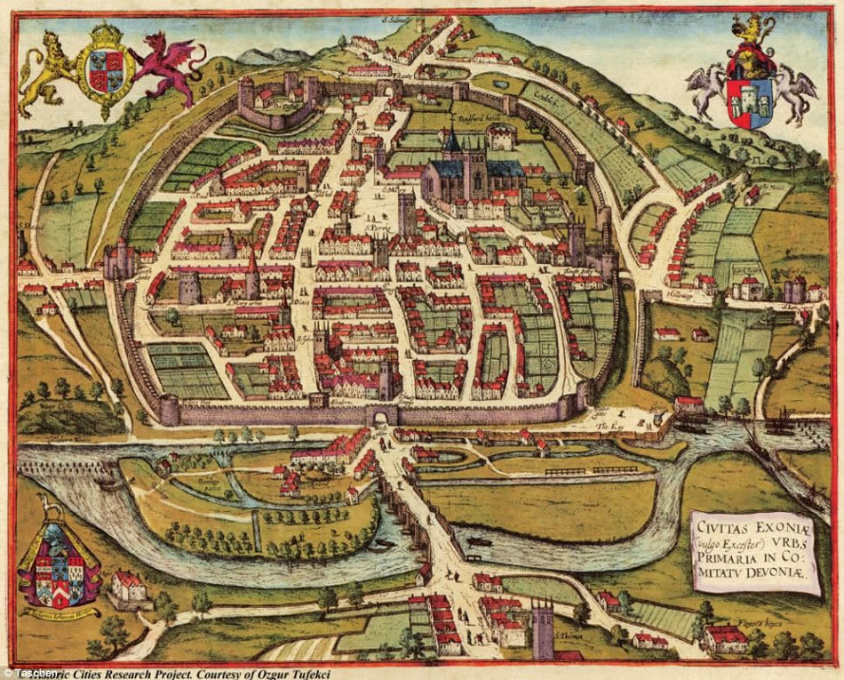 Map of 16th century Exeter