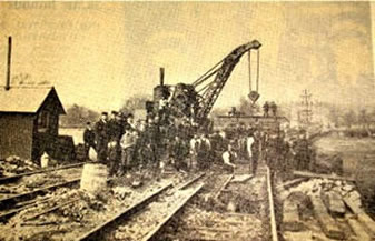 railway construction with crane