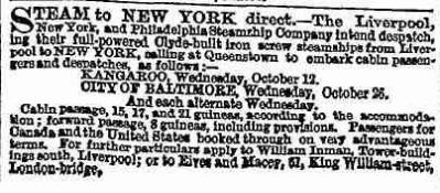 Advert for steamship passage