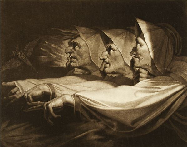 Engraving of 3 witches