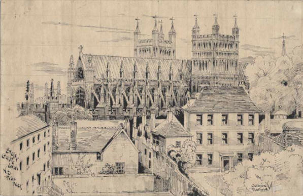 Sketch of Exeter cathedral by ralling