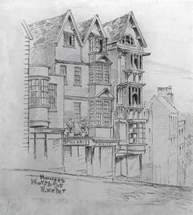 Sketch of old houses, North Street Exeter