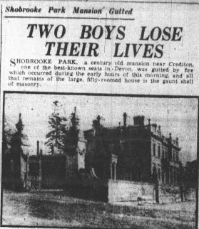 Newspaper article about the fire